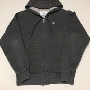 Champion zip up c logo gray hoodie sweatshirt